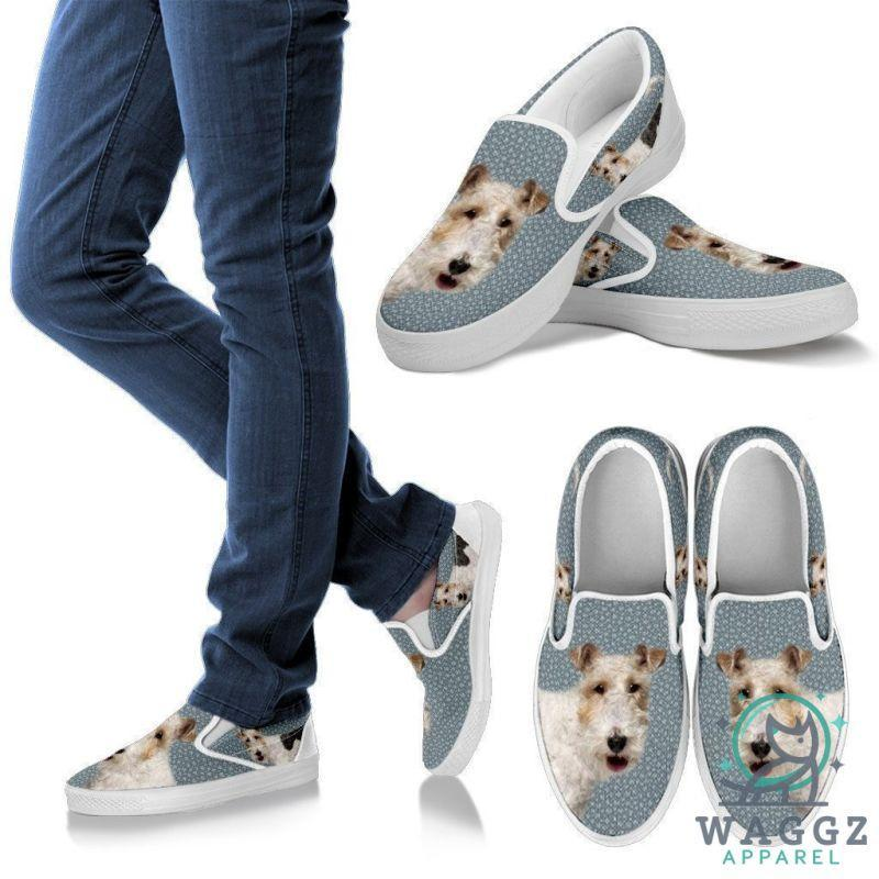 Wire Hair Fox Terrier Print Slip Ons For Women-Waggz Apparel