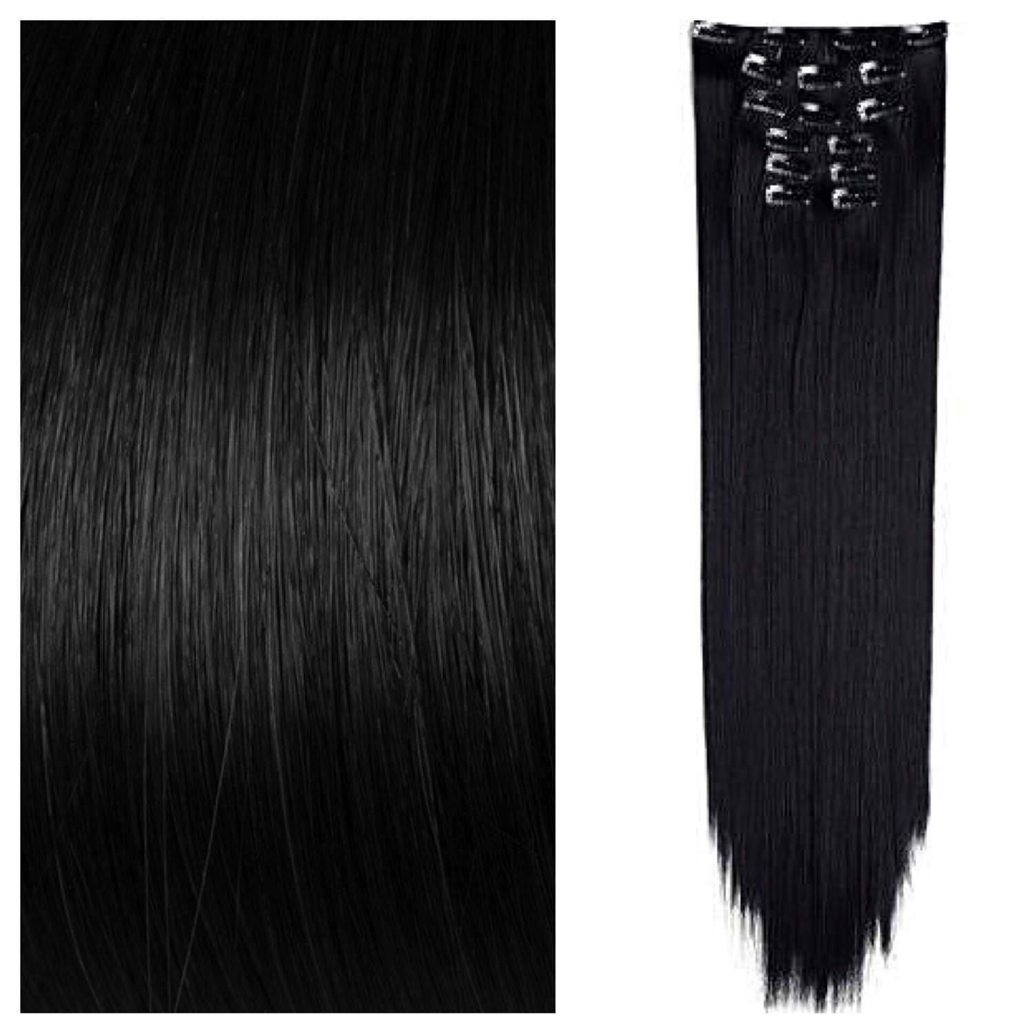 Jet Black Clip In Hair Extensions Straight Human Hair Ready To Ship