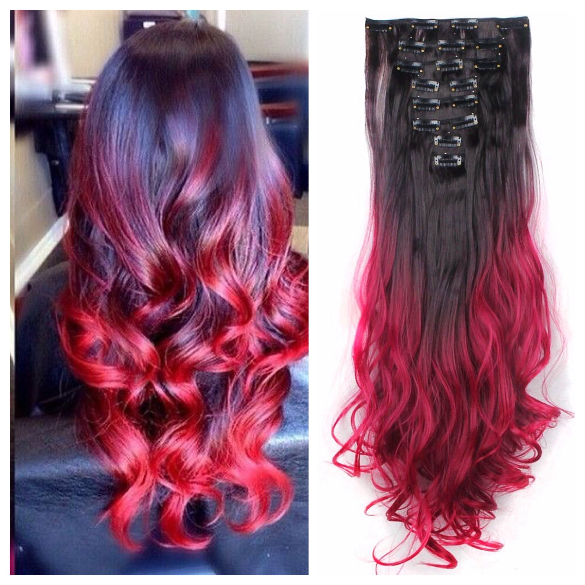 Red Ombre Remy Human Hair Clip In Extensions 24 180g Double Weft