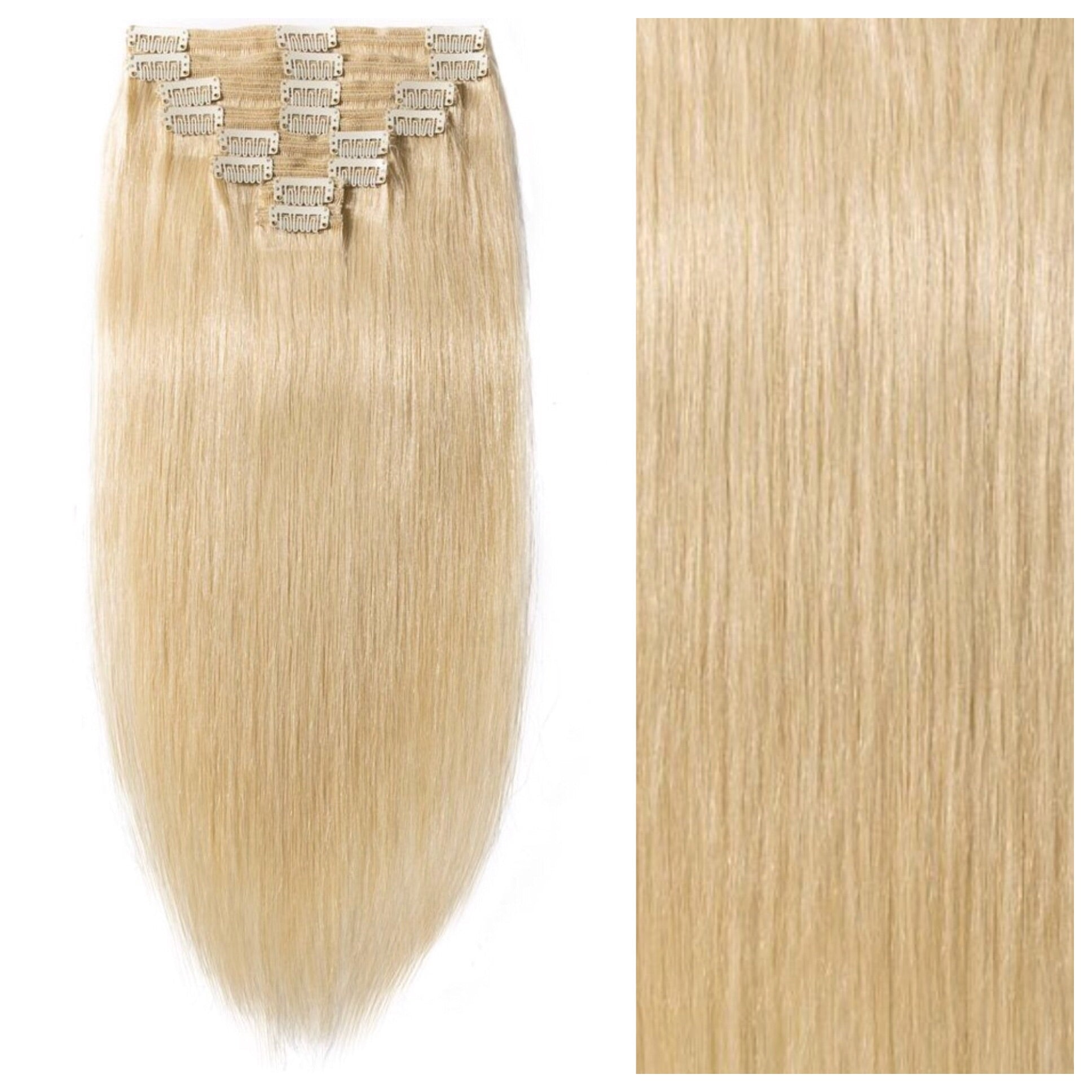Bleach Blonde Remy Clip In Human Hair Extensions 26 200g Straight