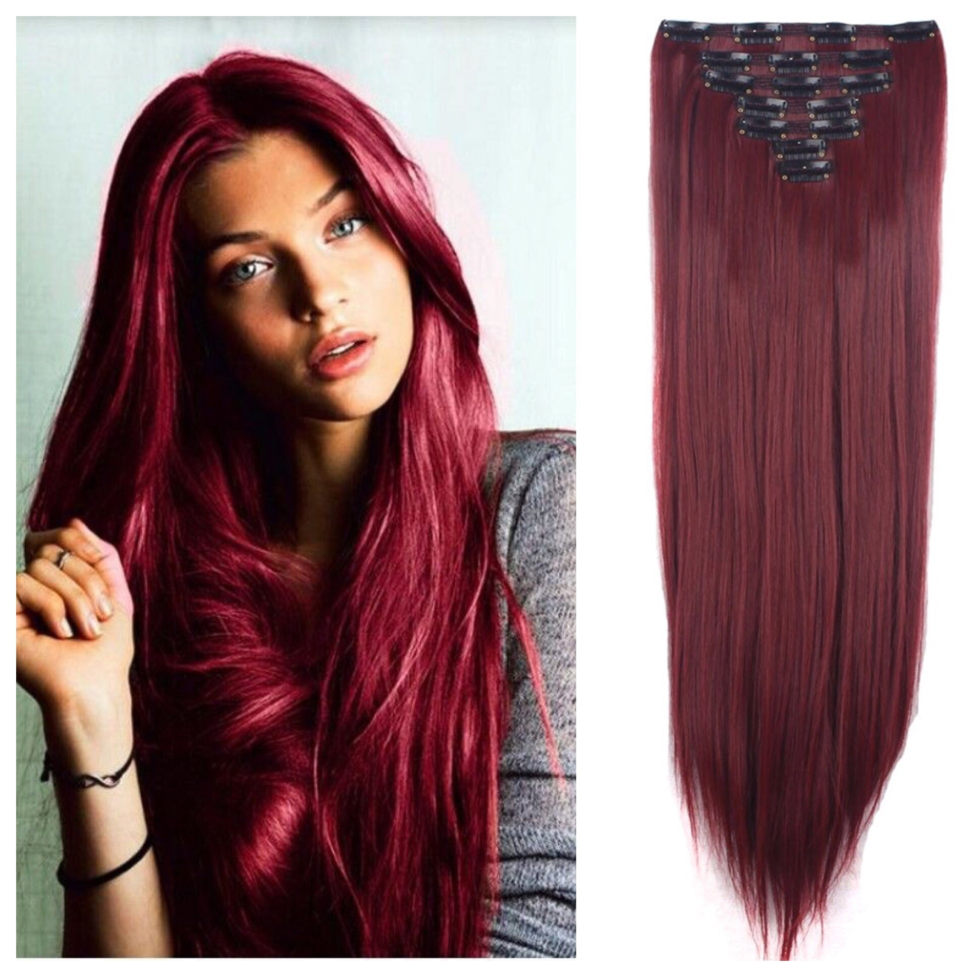 Dark Red Remy Human Hair Clip In Extensions 24 Double Weft 180g