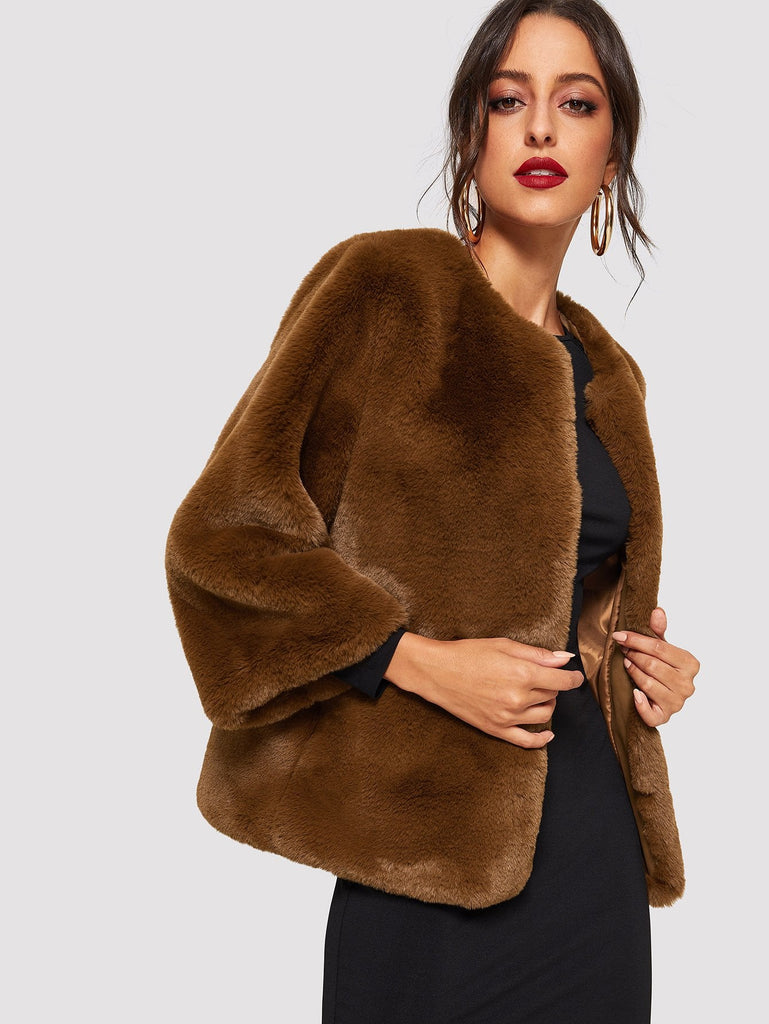 Open Front Solid Faux Fur Teddy Coat