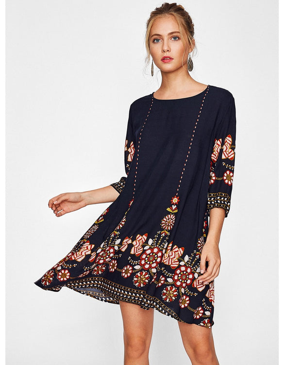 Flower Print Flowy Dress