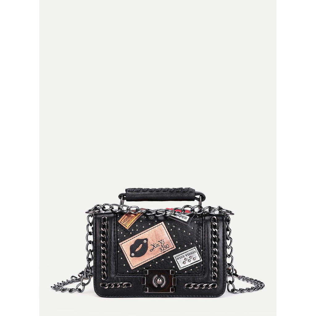 Patch Decorated Chain Crossbody Bag