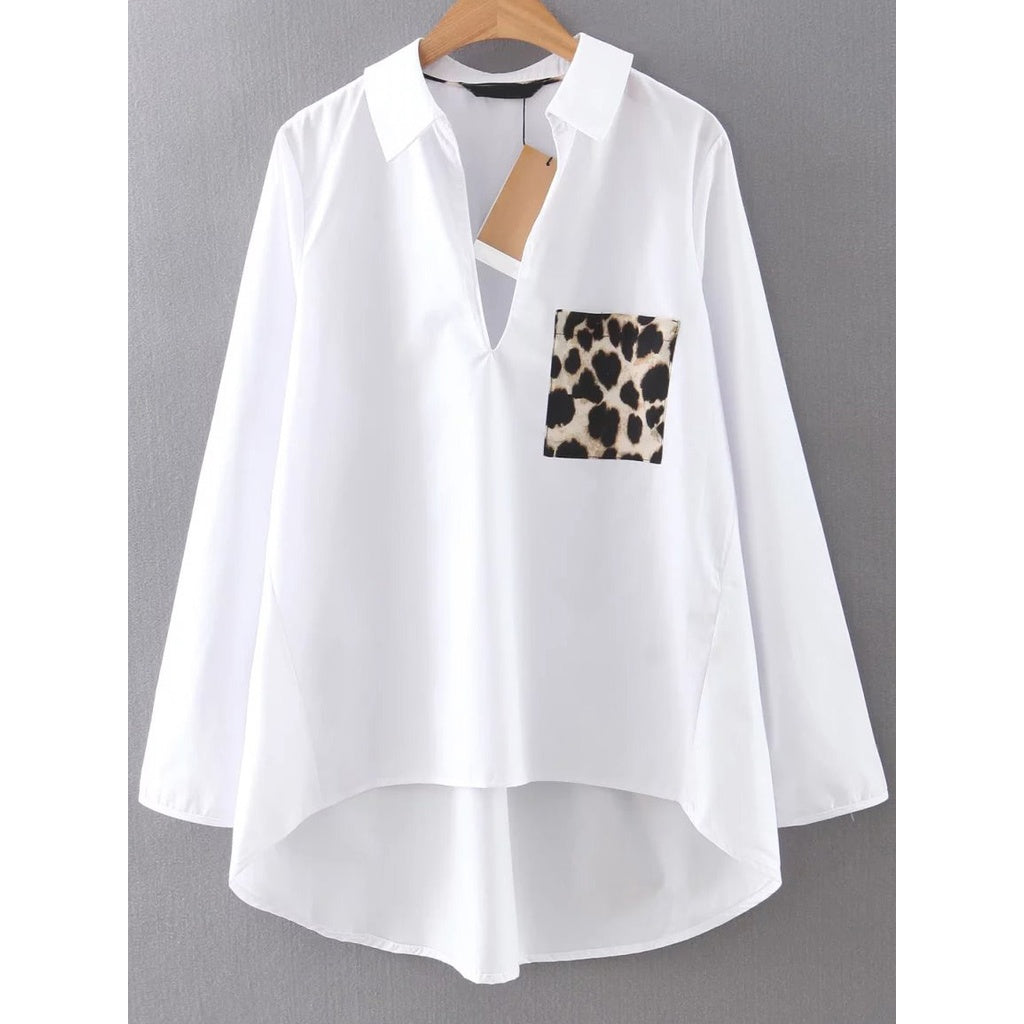 Dip Hem Blouse With Leopard Pocket