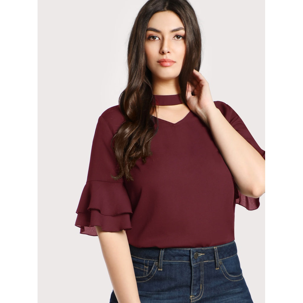 Choker Neck Layered Sleeve Top