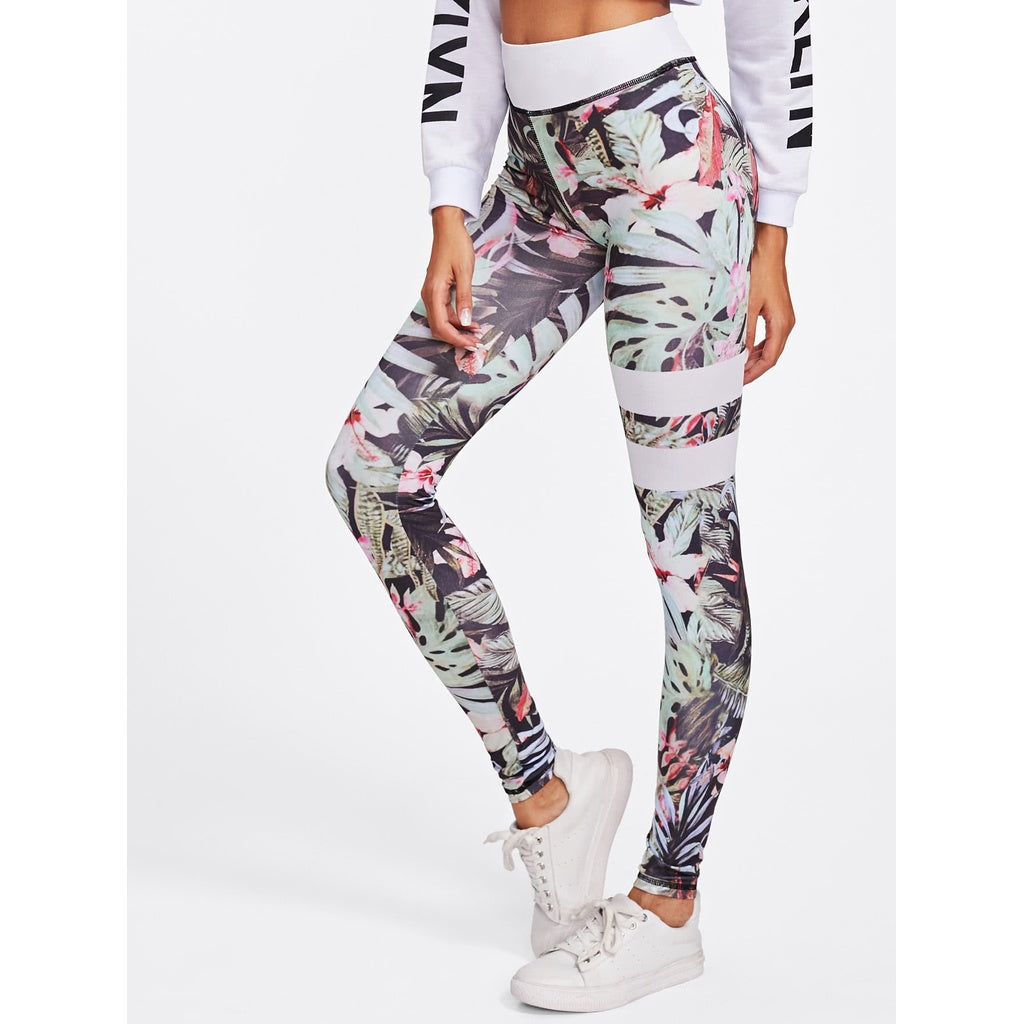 Floral Print Striped Skinny Leggings
