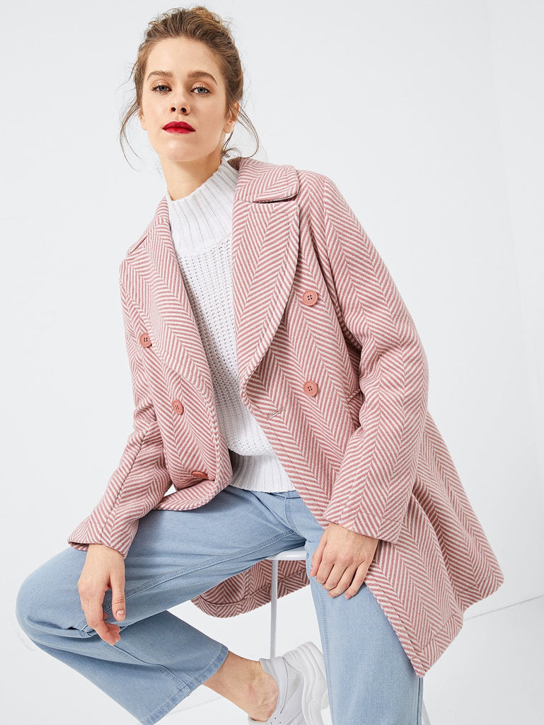 Notched Collar Buttoned Coat