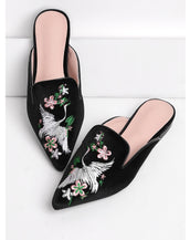 Cranes And Flower Embroidery Flat Mules