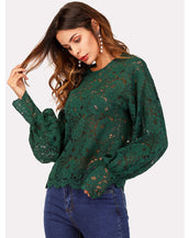Lantern Sleeve Hollow Lace Top