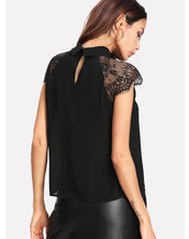 Floral Lace Cap Sleeve Blouse
