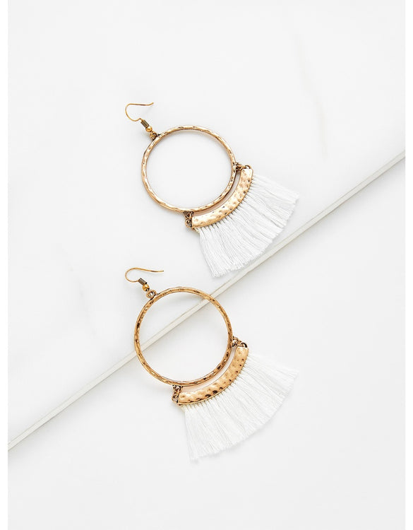 Fringe Tassel Hoop Drop Earrings