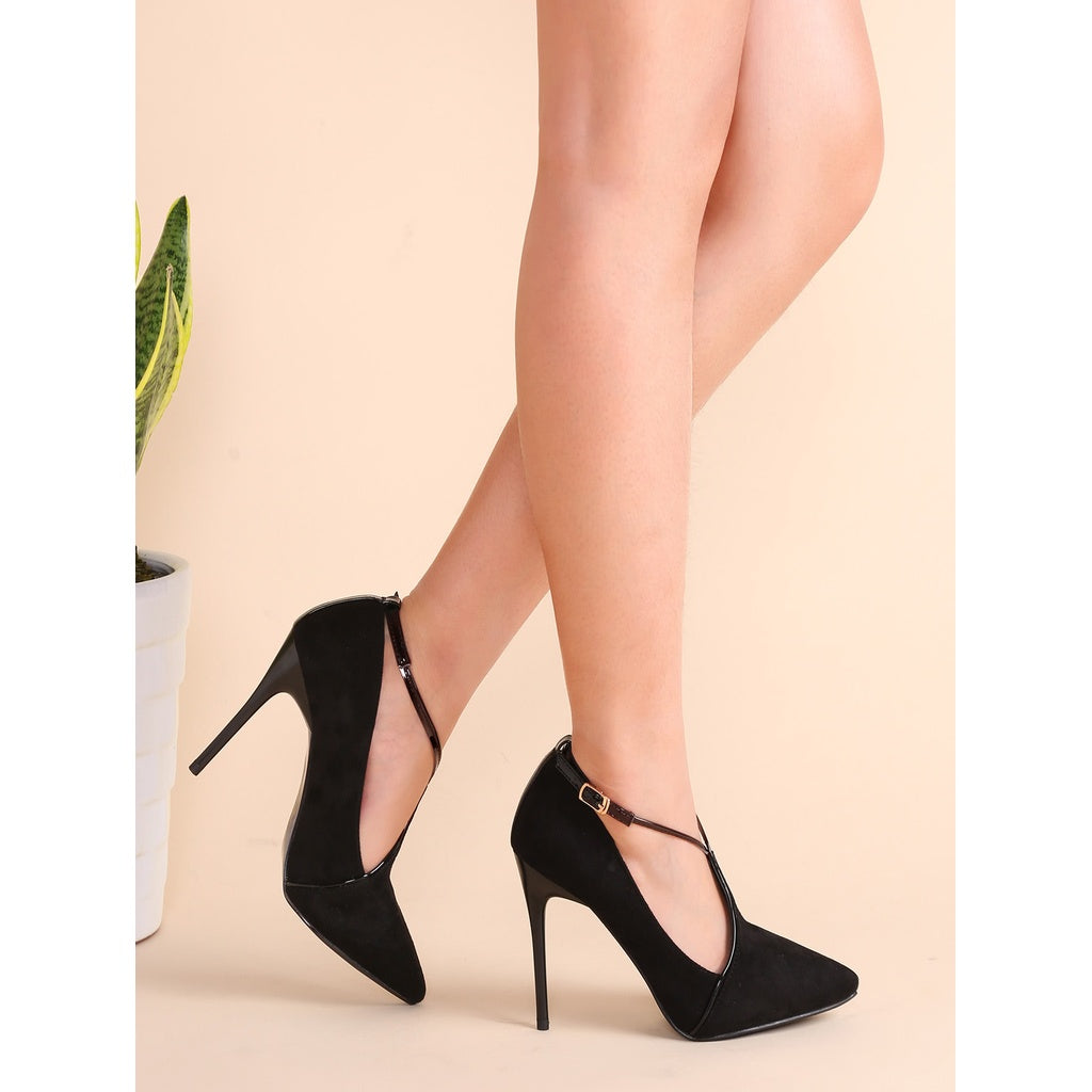 Black Suede Point Toe Cross Strap Stiletto Pumps