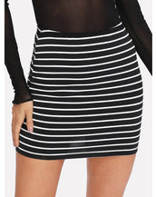 Elastic Waist Striped Skirt