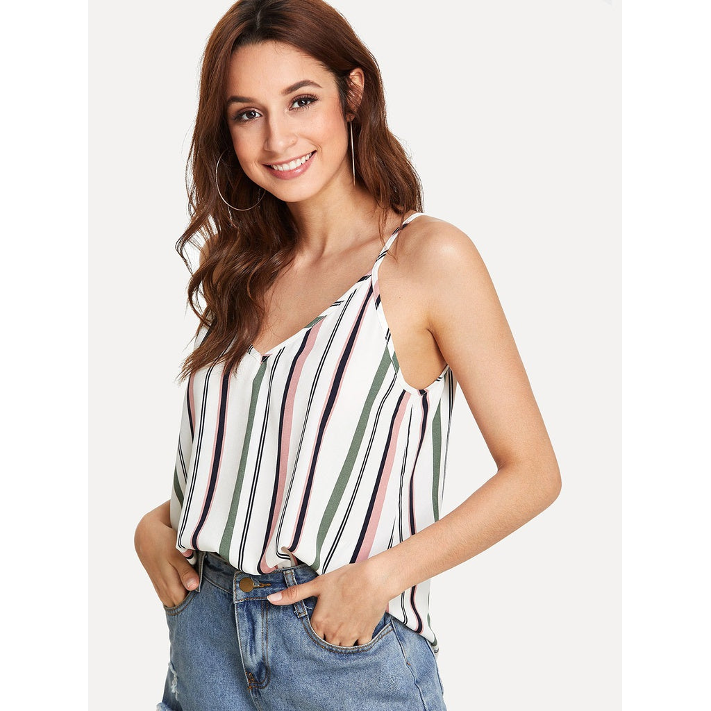 Double V Neck Striped Cami Top