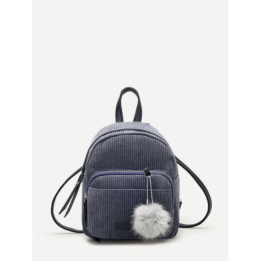 Pom Pom Decorated Corduroy Backpack