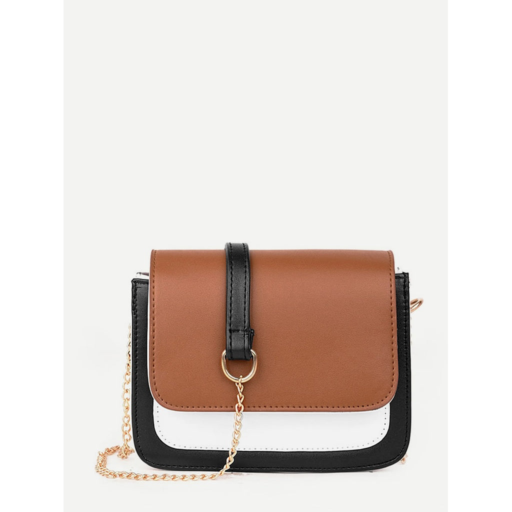 Color Block Flap Chain Bag