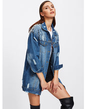 Faux Pearl Frayed Bleach Wash Denim Jacket