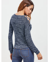 Open Shoulder Marled Crisscross T-shirt