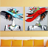 Hand Painted Beautiful Lady with Hat Art Wall Art Pop Art