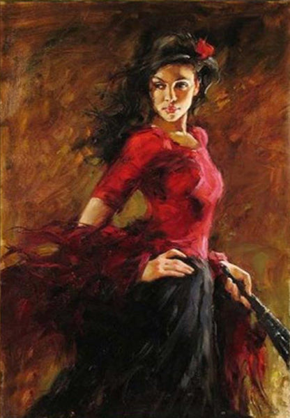 100% Hand-Painted Original Oil Painting Art Impressionism Dance Girl On Canvas 24X36
