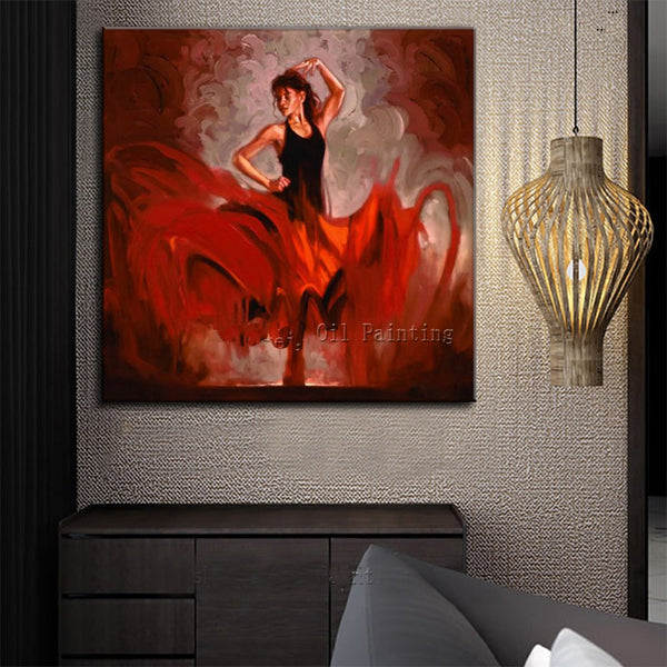 Hand Painted High Quality Red Dress Dance Lady Oil Painting two companion