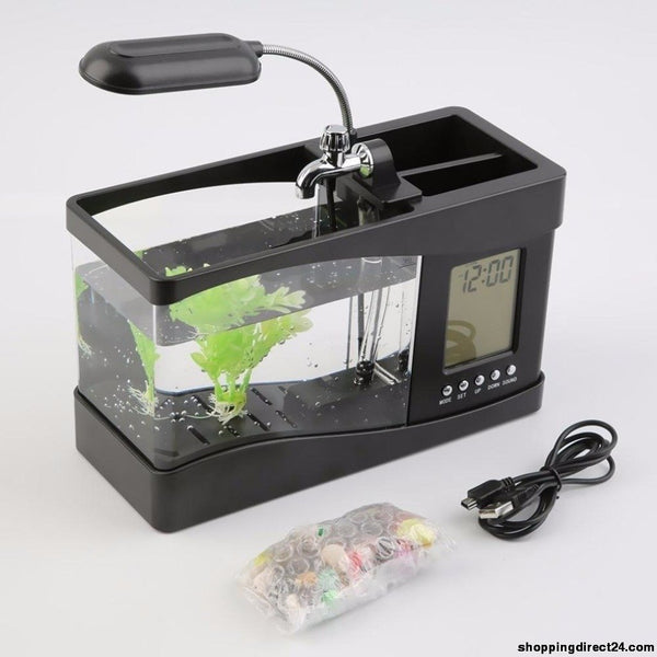 1.5L Mini Usb Aquarium Fish Tank Lcd Timer Clock Led Lamp Light Black Desktop 24 *10 * 14Cm