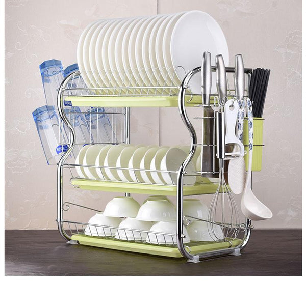 2-3 Tiers Dish Drying Rack Kitchen Washing Holder Basket Plated Iron Knife Sink Drainer Organizer
