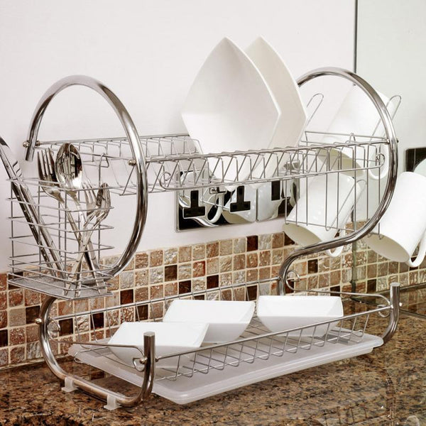 2 Tier Iron Chrome Multifunction Bowl Plate Dish Cup Cutler Drainer Storage Shelf Rack Organizer