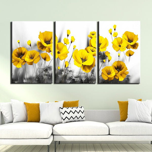 3 Panel frame available HQ Canvas print Painting yellow poppy flower