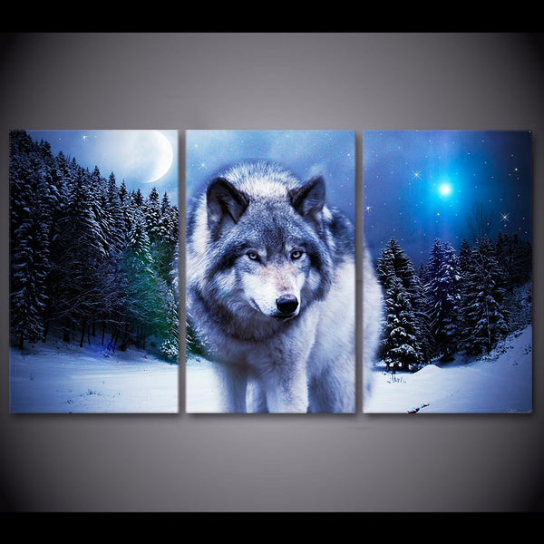 3 Pieces Snow Wolf Moon Wall Art HQ Canvas Print with frame