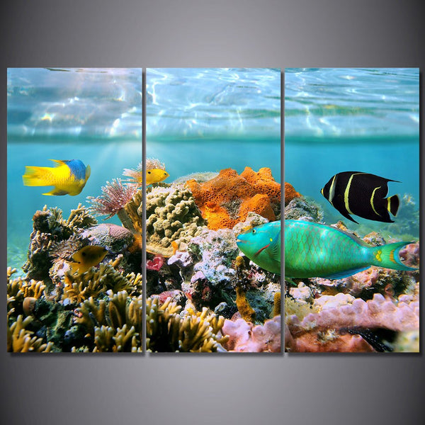 3 panel frame available Coral Reef HQ Canvas Print Painting