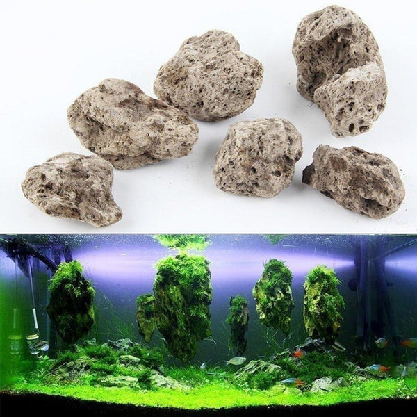 3Pcs/lot Avatar Floating Real Rocks Aquarium Water Plant Fish Tank Aquatic Landscape Moss