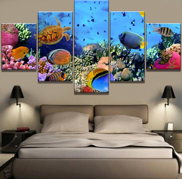 5 Piece with frame Coral Reef HQ Canvas Print Painting