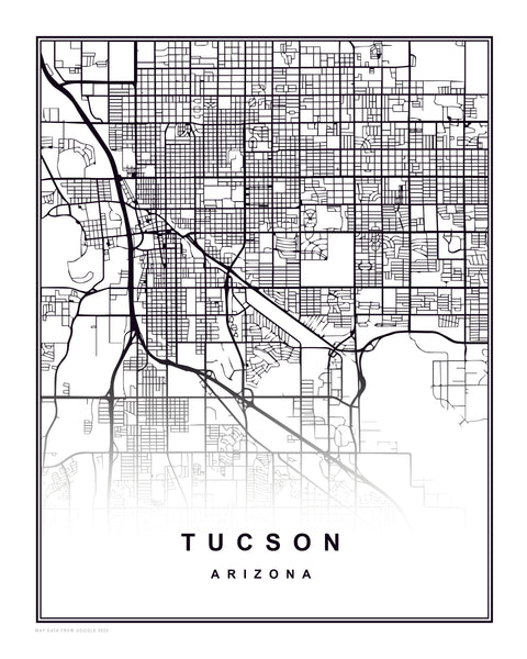 Arizona Tucson Art Print City Map digital download