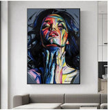Hq lærred Udskriv Wall Art Abstract Woman With Frame 50X70Cm Only Canvas / 040-01