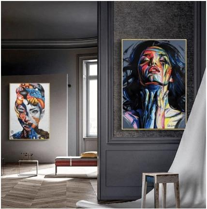 Hq Canvas Print Wall Art Abstract Woman With Frame