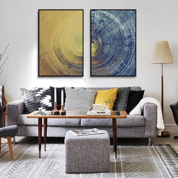 Hq Canvas Print Wall Art Abstract Blue Meets Yellow With Frame