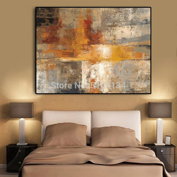 Abstract Nordic Style Gold Hand Oil Painting On Canvas Scandinavia Art