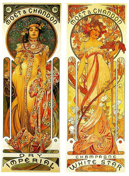High Quality Canvas Print Alphonse Mucha Chandon Print Giclee Silk Poster Home Decoration Painting