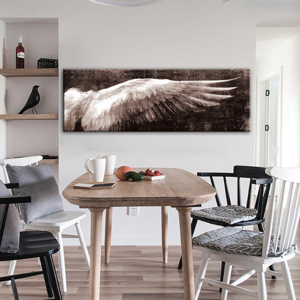 Angel Wings Vintage Black And White Wall Art HQ Canvas Print