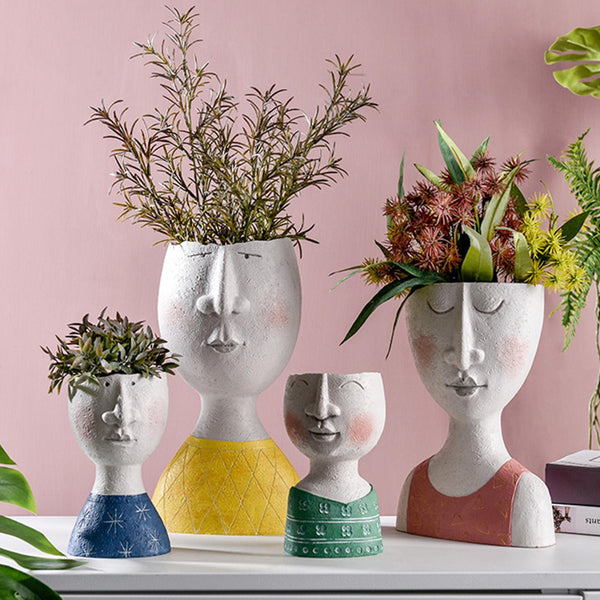 Art Portrait Flower Pot Vase Sculpture Resin Human Face Handmade