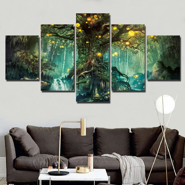 5 Piece Canvas Art Enchanted Tree Scenery very decorative HQ Canvas Print frame available