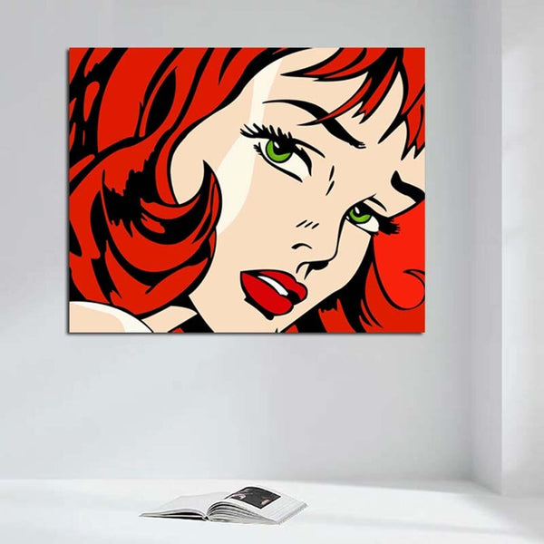 Lichtenstein Red Hair Beauty s rámečkem HQ Canvas Painting Decorative