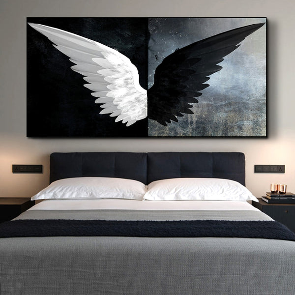 Black And White Angel Wings Modern Wings HQ Canvas Print