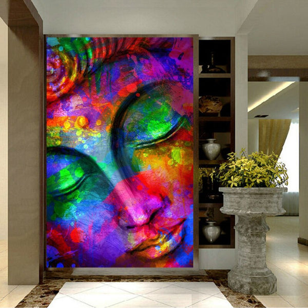 Buddha Painting Colorful HQ Canvas Print Decorative Wall Art