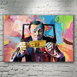Di Caprio Wolf Of Wall Street Money Art HQ Peinture sur toile