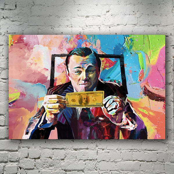 Di Caprio Wolf Of Wall Street Money Art HQ Canvas Print Painting