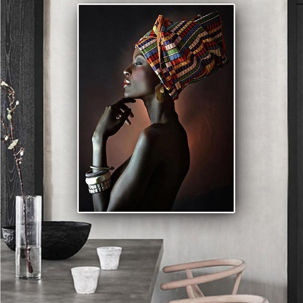 Hq Canvas Print Wall Art African Woman Headband Home Decor With Frame
