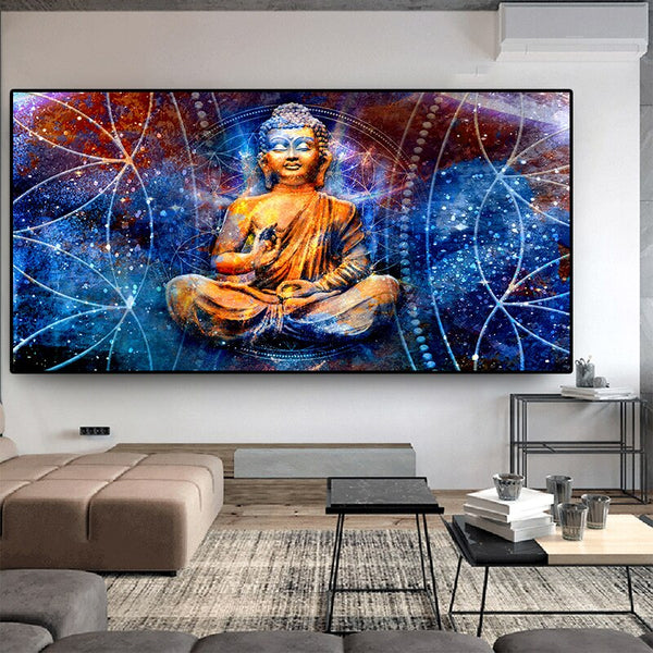 Zen Lord Buddha HQ Canvas Print Home Decor For Living Room